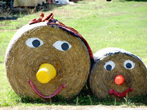 Straw family. A family made out of straw bales Royalty Free Stock Photo