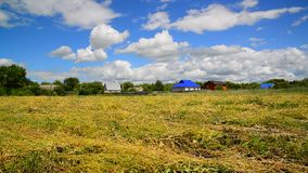 Straw field in front of rural houses in Russia stock footage