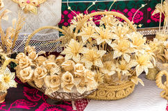 Straw flowers in basket, plaiting Stock Photo