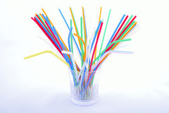 Straw at glass Royalty Free Stock Images