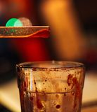 Straw and Glass with leftover stock photo