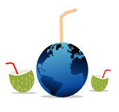 Globe with straw. Illustrated globe and coconut halves with straws Royalty Free Stock Images
