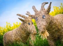 Straw goats Stock Photo