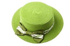 Straw green hat. Royalty Free Stock Photos