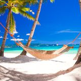 Straw hammock in the shadow of palm on tropical Royalty Free Stock Photography