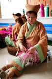 Straw handicraft making,IFICH 2013 Royalty Free Stock Photos