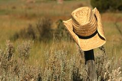 Straw Hat. A straw cowboy hat rests on a wooden post in a field of grass Royalty Free Stock Photos