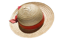 Straw hat. Isolated on white with clipping path Stock Photography