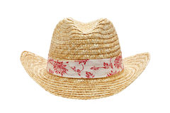 Straw hat. Isolated on white background Stock Photos
