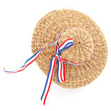 Straw hat. With French or Dutch ribbon Royalty Free Stock Images