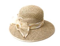 Straw hat. Isolated on white background Royalty Free Stock Images