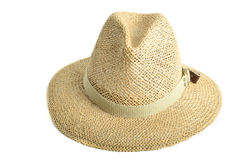 Straw Hat. An explorers rimmed straw hat isolated on white stock images