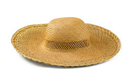 Straw hat. Yellow straw  hat isolated on white Stock Images