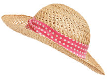 Straw hat. Isolated straw hat with pink band, diagonal Royalty Free Stock Photos