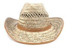 Straw hat. A straw cowboy hat, front shot Stock Photos