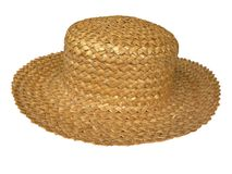 Straw Hat. Pretty summer straw hat isolated on white stock photo