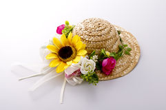 Straw hat. Cute straw hat on white background Royalty Free Stock Photography