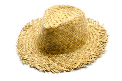 Straw hat. On a white background Stock Photos