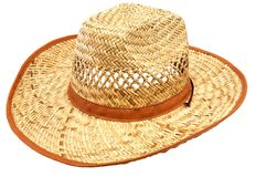 Straw hat. Lonely straw hat on a white background stock images
