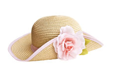 Straw hat. Pretty straw hat with flower on white background Royalty Free Stock Photography