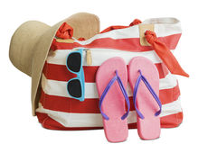 Straw hat, bag and beach item Royalty Free Stock Photography