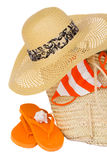 Straw hat and  basket for beach Stock Image