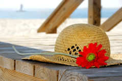 Straw hat at beach Royalty Free Stock Photography