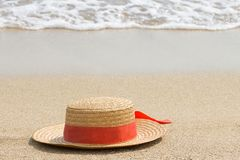 Straw hat on the beach, vacation concept, ocean vacation, copy space stock photo