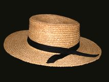 Straw Hat on Black Background Royalty Free Stock Photos