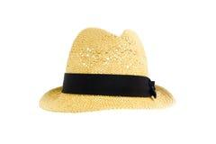 Straw hat with black ribbon. Isoated on white background Stock Image