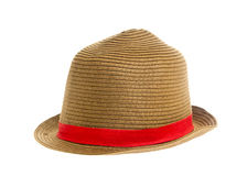 Straw hat with black ribbon. Isoated on white background Royalty Free Stock Photos