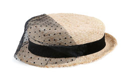 Straw hat with black ribbon and lace isolated on white Royalty Free Stock Photography