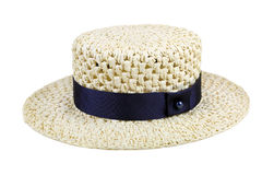 Straw hat with blue ribbon isolated on white Stock Photography