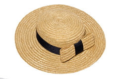 Straw hat with a bow Royalty Free Stock Images