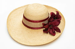 Straw Hat with Burgundy Accents. Woven, woman's, straw hat accented with burgundy ribbon & flowers isolated on white background Royalty Free Stock Photography