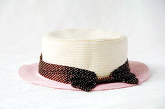 Straw Hat. Closeup of straw hat on white background stock images