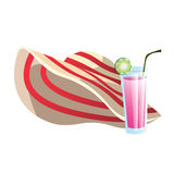 Straw hat and cocktail, drink, summer objects, Royalty Free Stock Images