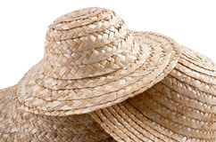 Straw hat collection #2. And abstract group of hats royalty free stock image