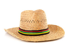 Straw hat with colorful ribbon Royalty Free Stock Photos