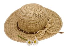 Straw hat with daisies. Over-white with clipping path included Royalty Free Stock Image