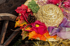 Straw hat with decoration Stock Image