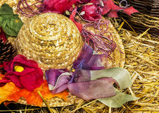 Straw hat with decoration Royalty Free Stock Image