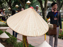 Straw hat decoration at the temple of literature in Hanoi Royalty Free Stock Photo
