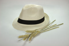 Straw hat and ears of wheat. Photo taken on a white background. Straw Trilby hat and ears of wheat. Photo for agriculture, grain production. Soft colors, a Royalty Free Stock Photo