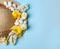 Straw hat for easter Royalty Free Stock Image