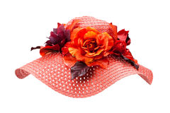 Straw hat with flower. Red straw hat with flower Stock Images