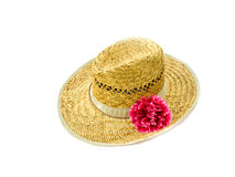 Straw hat and flower mallow. Their straw hat and flower mallow are on white background Royalty Free Stock Photo