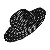 Straw hat for gardener. Headpiece for protection of the sun.Farm and gardening single icon in black style vector symbol. Stock web illustration Royalty Free Stock Photo