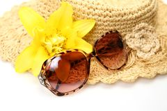 Straw hat and glasses Royalty Free Stock Photography