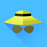 Straw Hat and Glasses Royalty Free Stock Photos